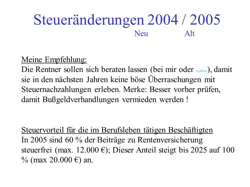 Steueränderungen 2004 / 2005 Neu Alt
