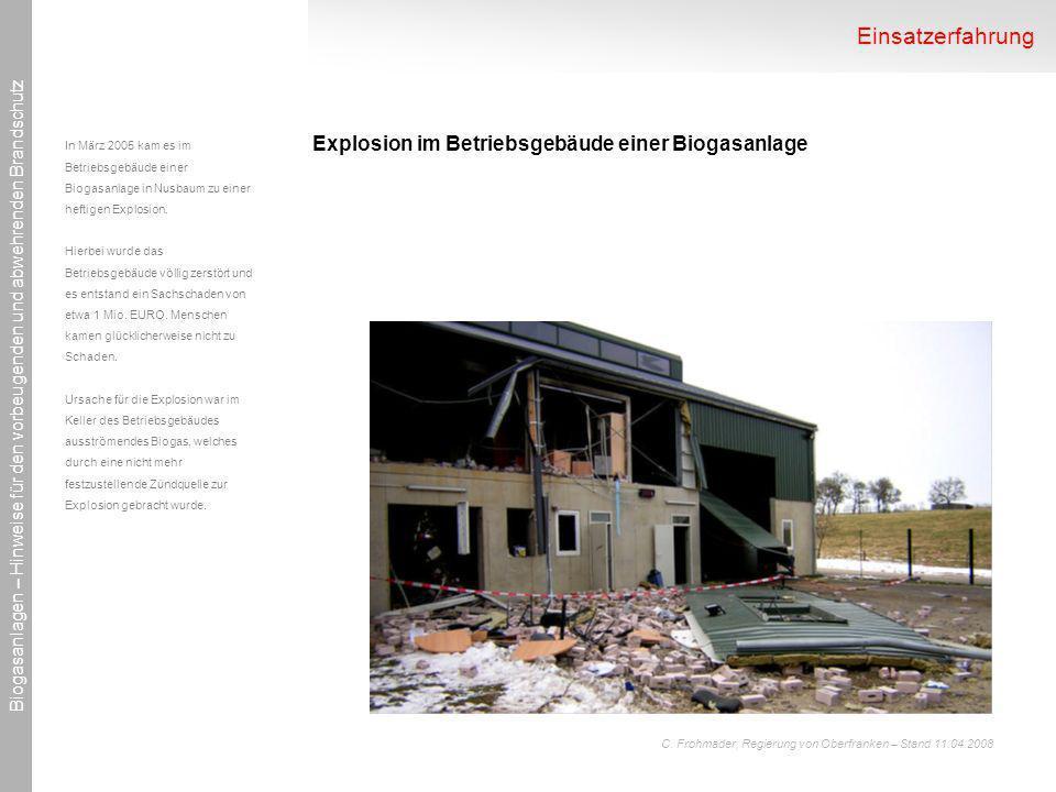 Einsatzerfahrung Explosion im Betriebsgebäude einer Biogasanlage