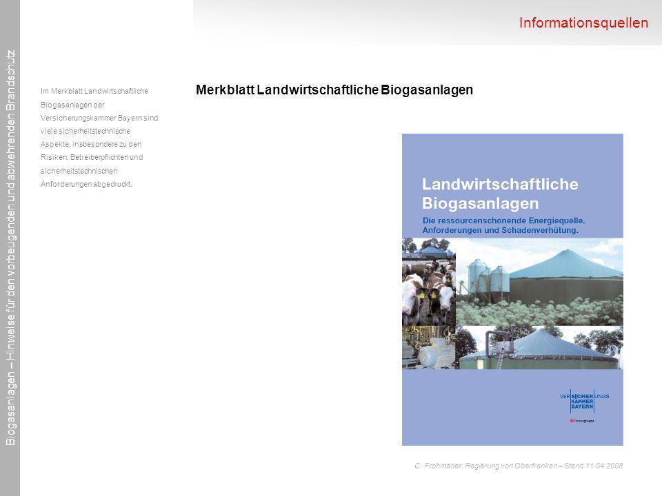 Informationsquellen Merkblatt Landwirtschaftliche Biogasanlagen
