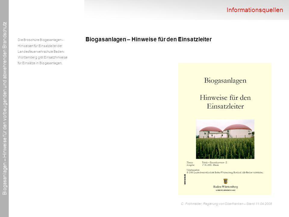 Informationsquellen Biogasanlagen – Hinweise für den Einsatzleiter