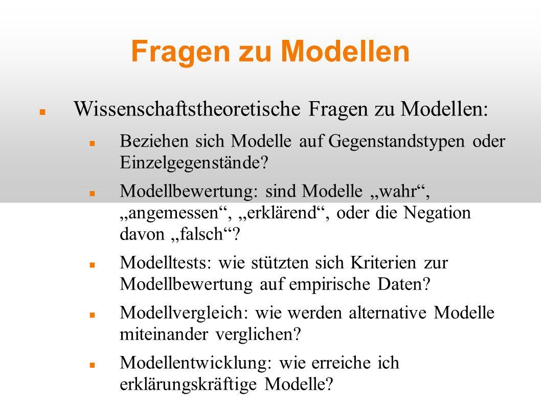 Fragen zu Modellen Wissenschaftstheoretische Fragen zu Modellen: