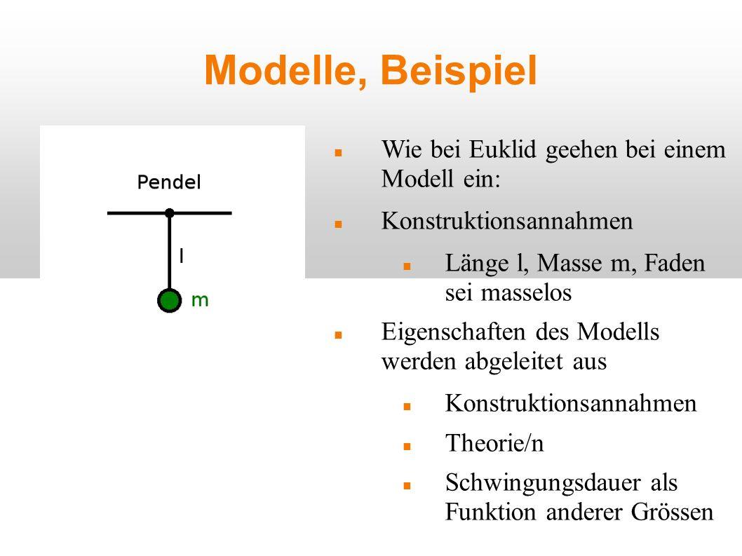 Modelle, Beispiel Wie bei Euklid geehen bei einem Modell ein: