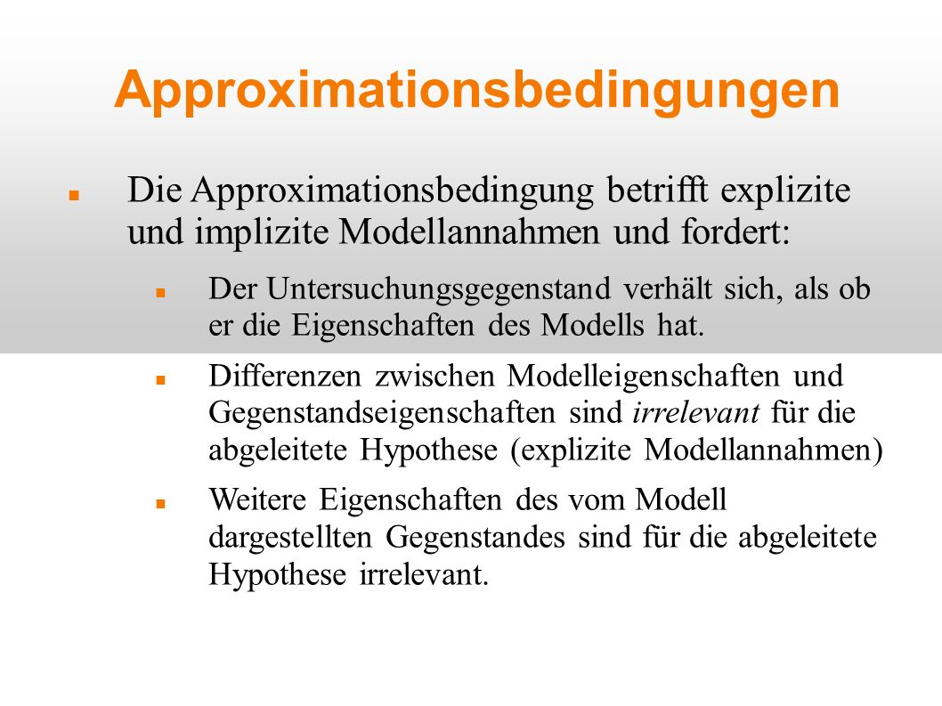 Approximationsbedingungen