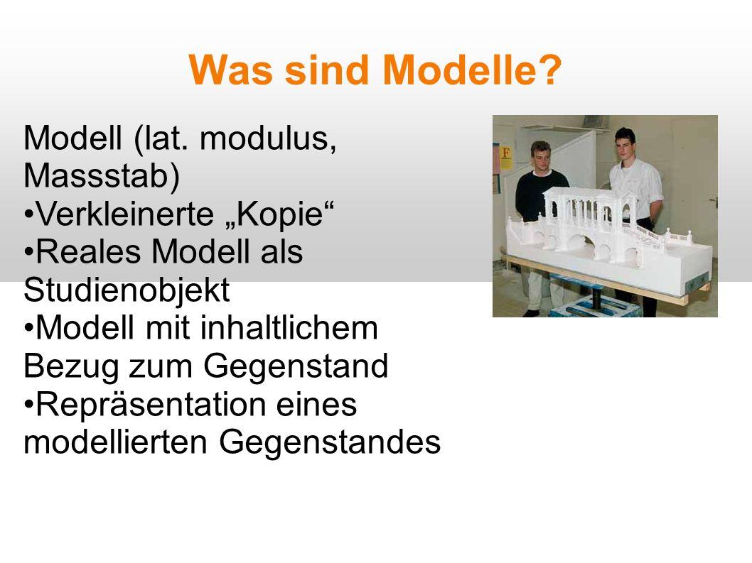 """Was sind Modelle Modell (lat. modulus, Massstab) Verkleinerte """"Kopie"""