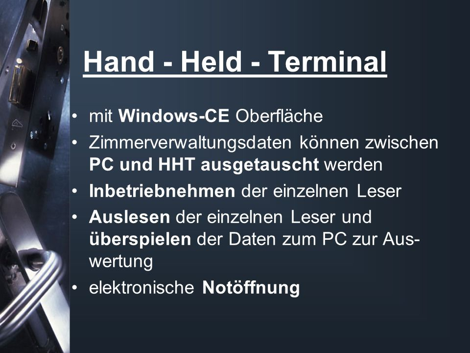 Hand - Held - Terminal mit Windows-CE Oberfläche