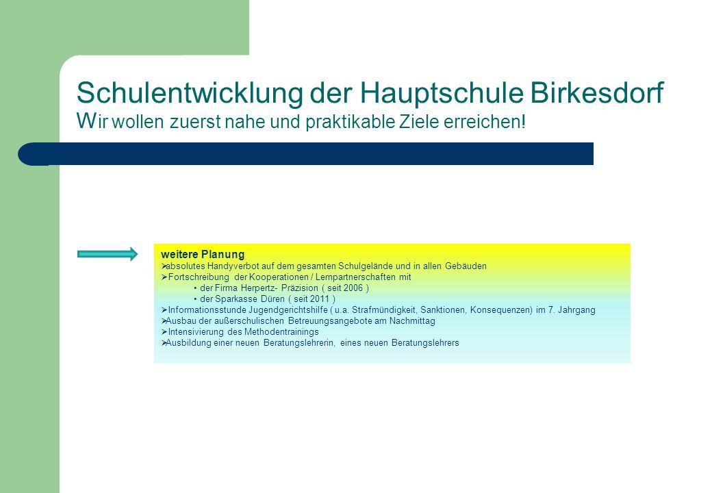 Schulentwicklung der Hauptschule Birkesdorf Wir wollen zuerst nahe und praktikable Ziele erreichen!