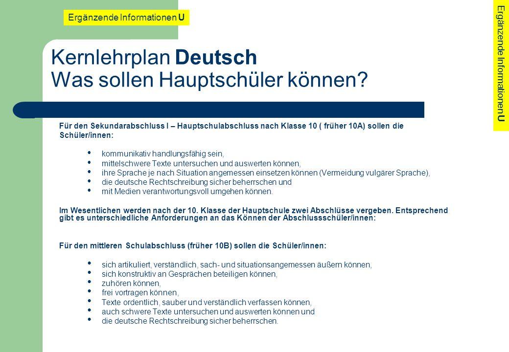 Kernlehrplan Deutsch Was sollen Hauptschüler können