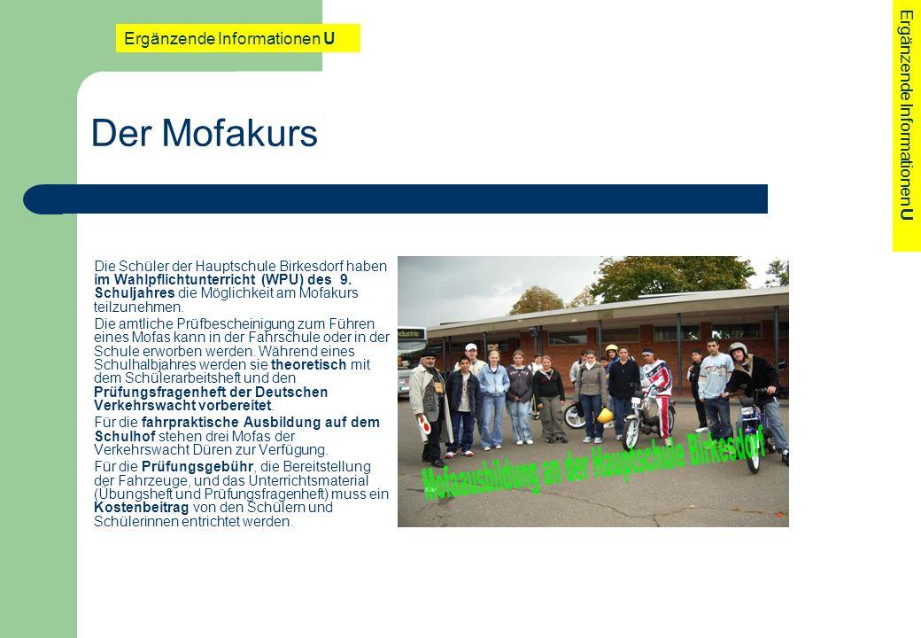Der Mofakurs Ergänzende Informationen U Ergänzende Informationen U