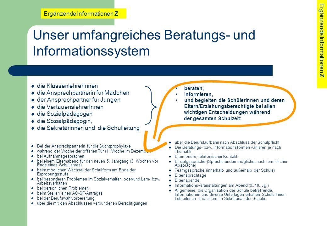 Unser umfangreiches Beratungs- und Informationssystem