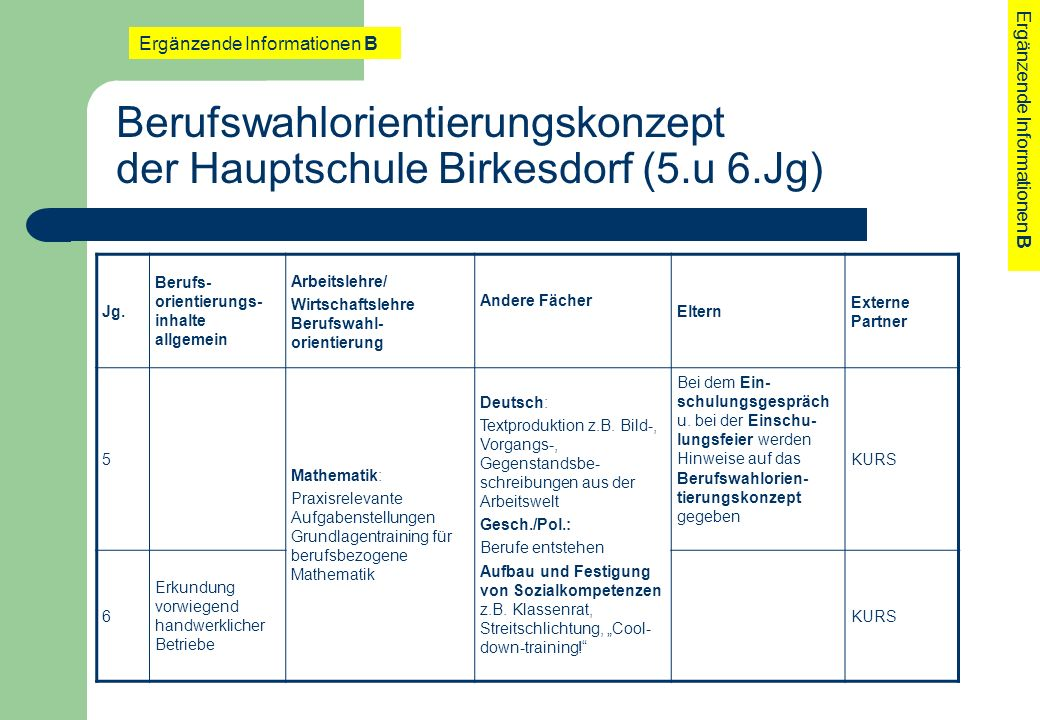 Berufswahlorientierungskonzept der Hauptschule Birkesdorf (5.u 6.Jg)