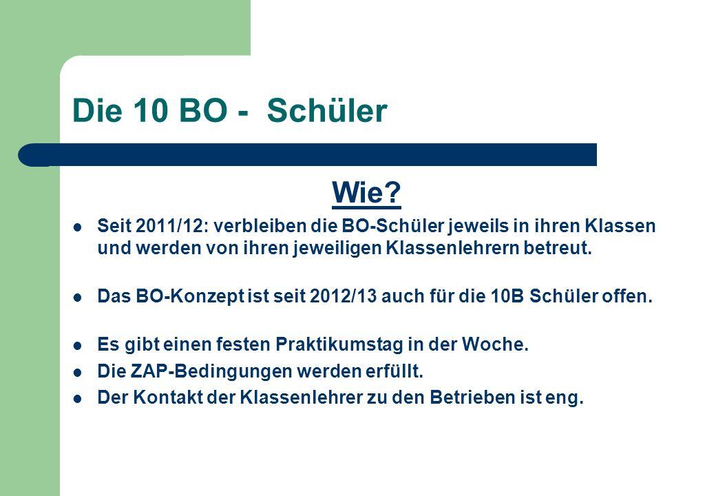 Die 10 BO - Schüler Wie Seit 2011/12: verbleiben die BO-Schüler jeweils in ihren Klassen und werden von ihren jeweiligen Klassenlehrern betreut.
