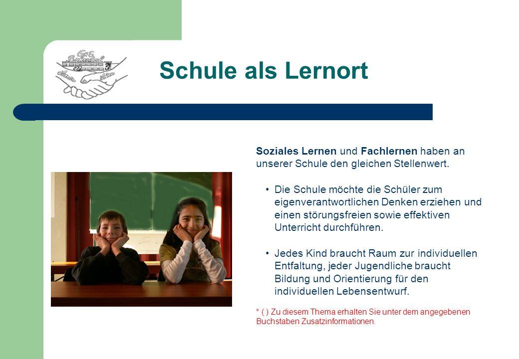 Schule als Lernort Soziales Lernen und Fachlernen haben an unserer Schule den gleichen Stellenwert.