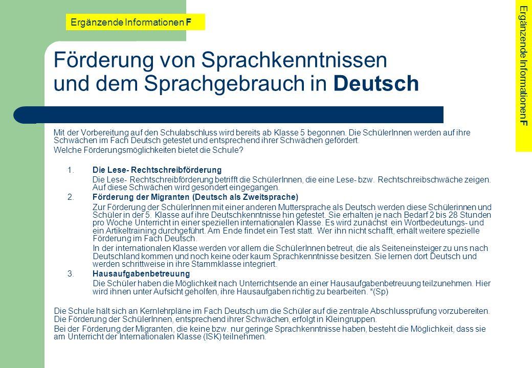 Förderung von Sprachkenntnissen und dem Sprachgebrauch in Deutsch