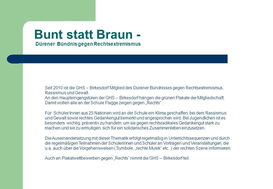 Bunt statt Braun - Dürener Bündnis gegen Rechtsextremismus