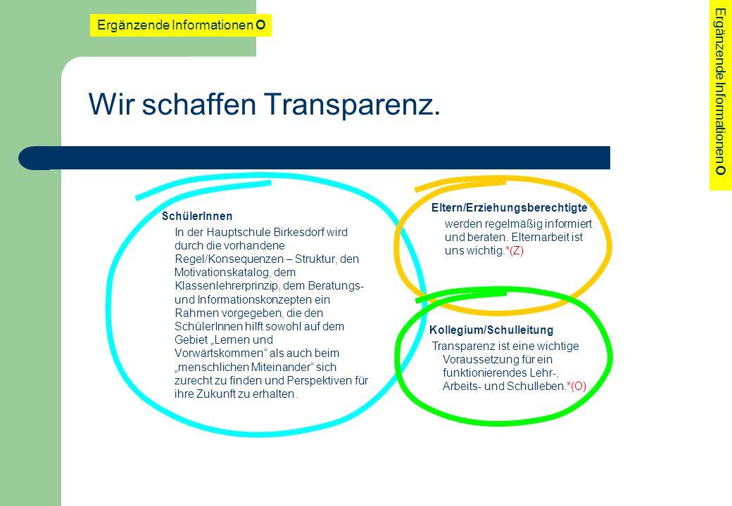 Wir schaffen Transparenz.