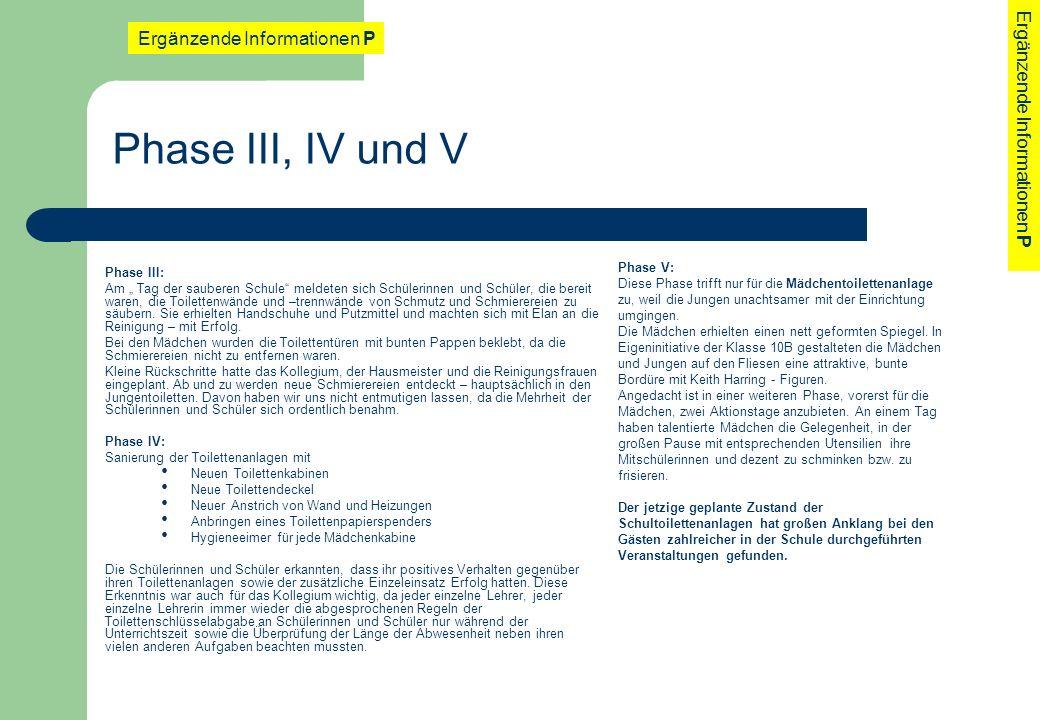 Phase III, IV und V Ergänzende Informationen P