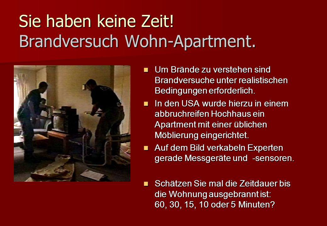 Sie haben keine Zeit! Brandversuch Wohn-Apartment.