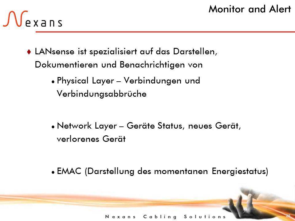 Monitor and Alert LANsense ist spezialisiert auf das Darstellen, Dokumentieren und Benachrichtigen von.
