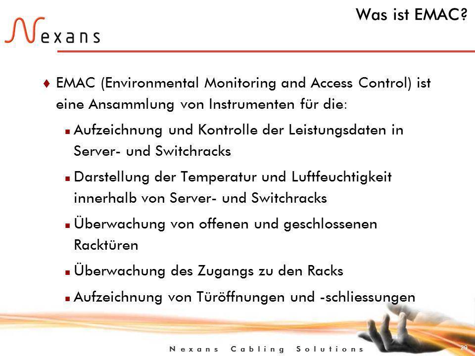 Was ist EMAC EMAC (Environmental Monitoring and Access Control) ist eine Ansammlung von Instrumenten für die: