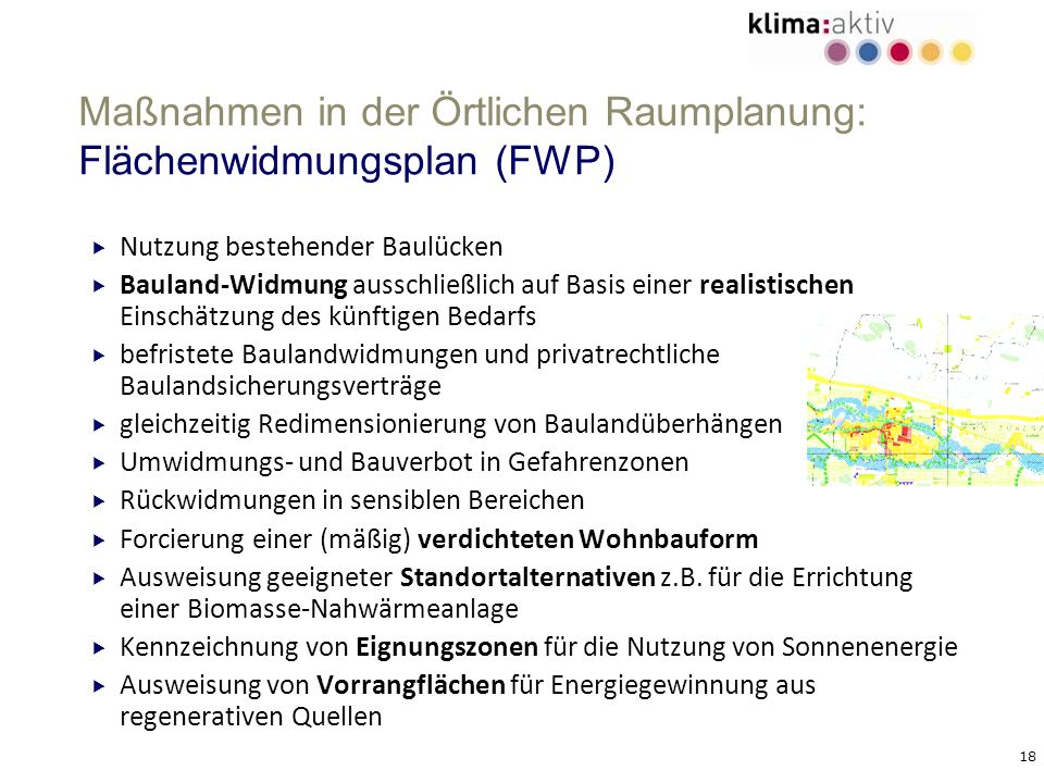 Maßnahmen in der Örtlichen Raumplanung: Flächenwidmungsplan (FWP)