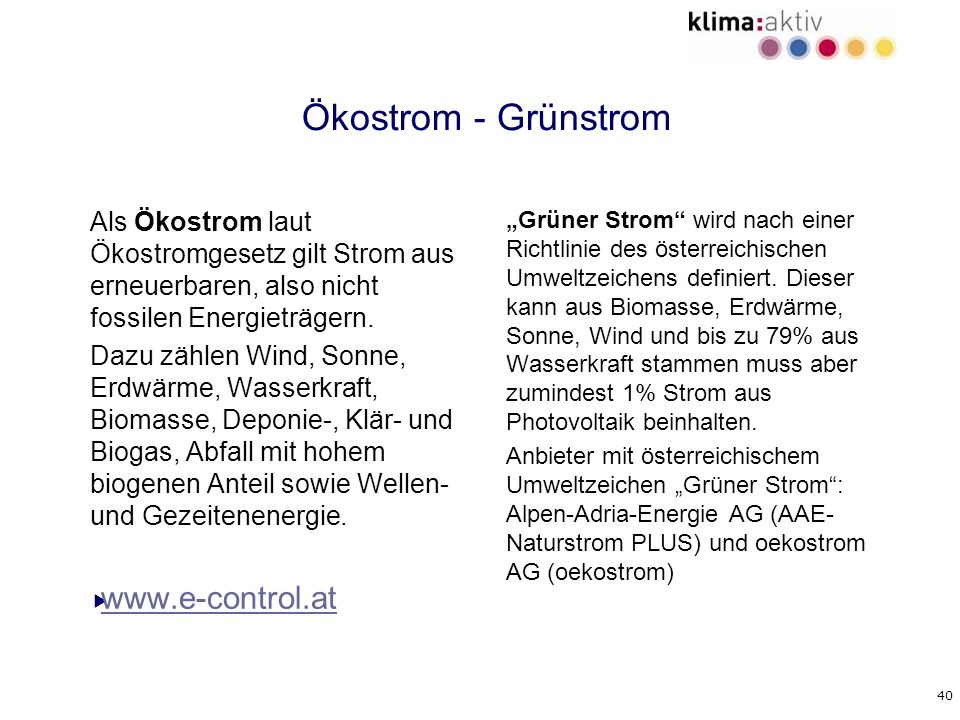Ökostrom - Grünstrom www.e-control.at