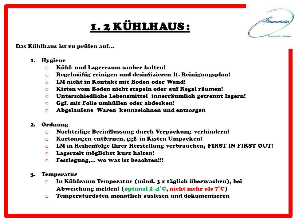 1. 2 KÜHLHAUS : Das Kühlhaus ist zu prüfen auf… Hygiene