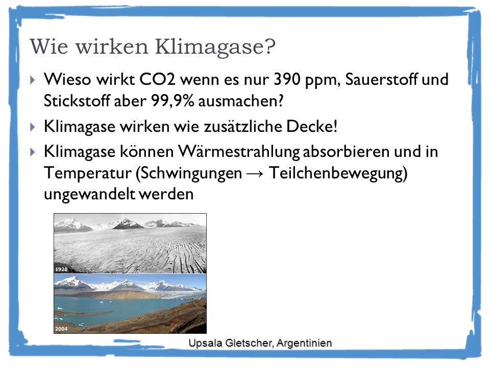 Wie wirken Klimagase Wieso wirkt CO2 wenn es nur 390 ppm, Sauerstoff und Stickstoff aber 99,9% ausmachen