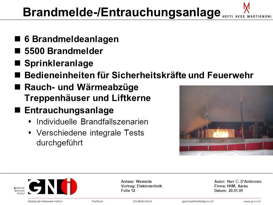 Brandmelde-/Entrauchungsanlage