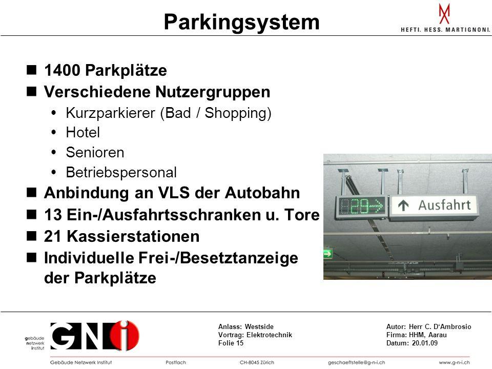 Parkingsystem 1400 Parkplätze Verschiedene Nutzergruppen