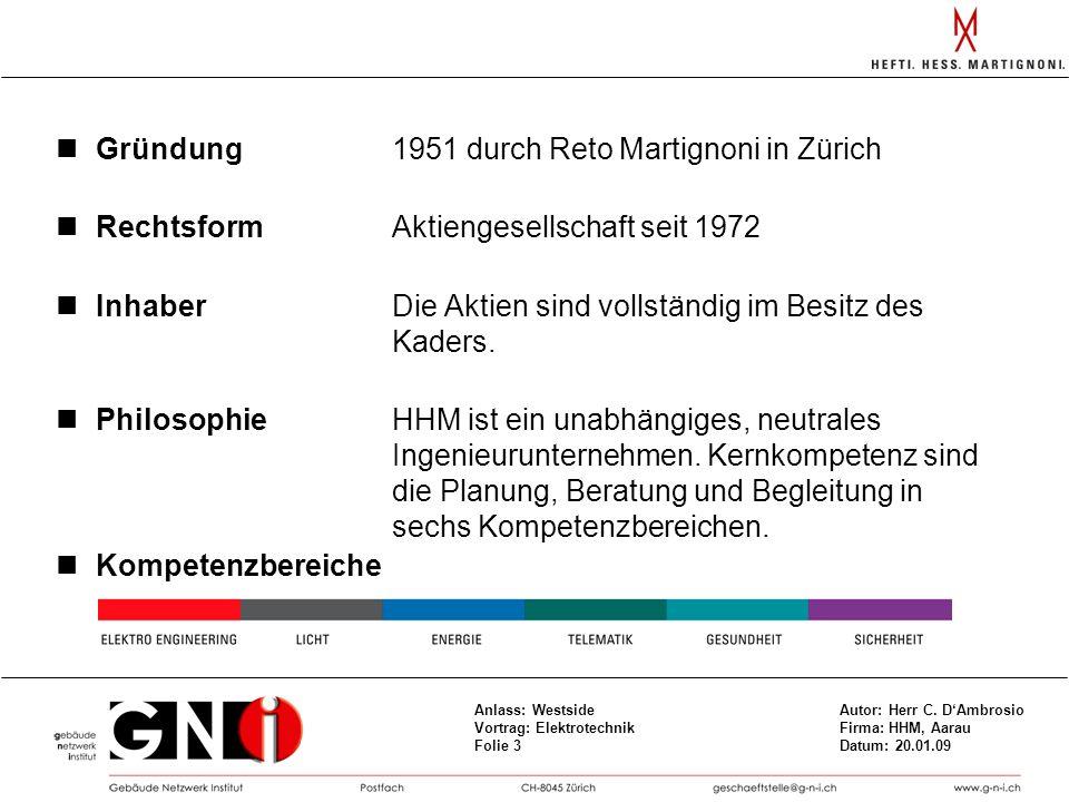 Gründung 1951 durch Reto Martignoni in Zürich