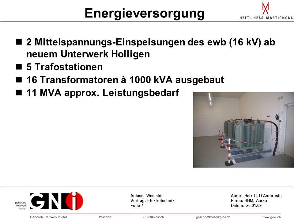 Energieversorgung 2 Mittelspannungs-Einspeisungen des ewb (16 kV) ab neuem Unterwerk Holligen. 5 Trafostationen.