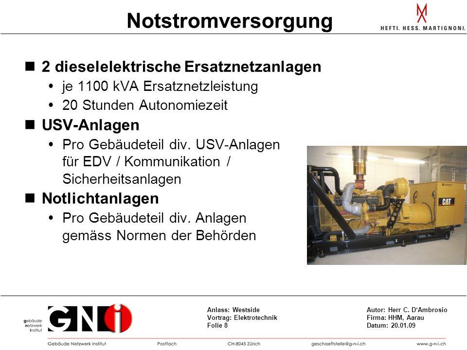 Notstromversorgung 2 dieselelektrische Ersatznetzanlagen USV-Anlagen