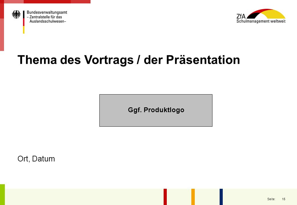 Thema des Vortrags / der Präsentation