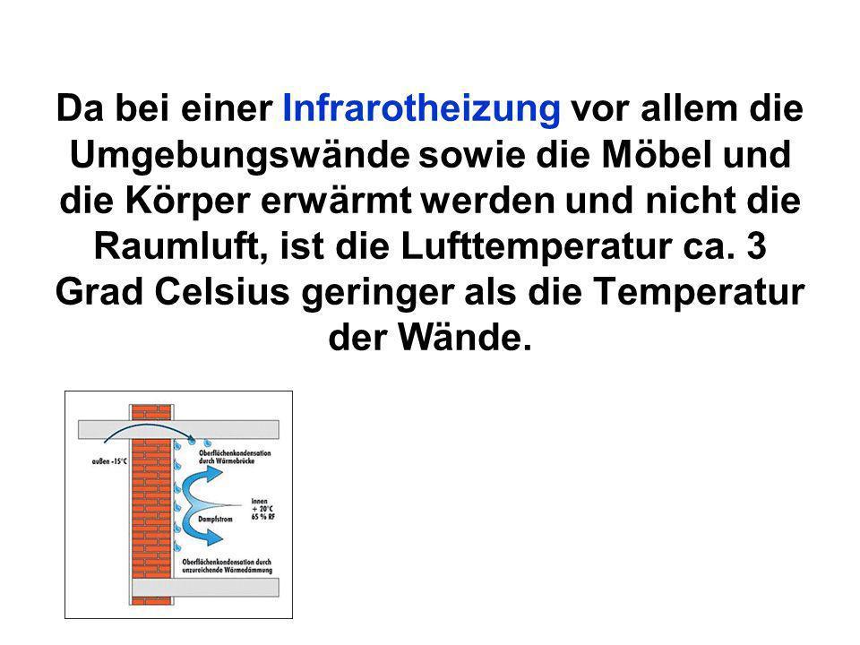 Da bei einer Infrarotheizung vor allem die Umgebungswände sowie die Möbel und die Körper erwärmt werden und nicht die Raumluft, ist die Lufttemperatur ca.