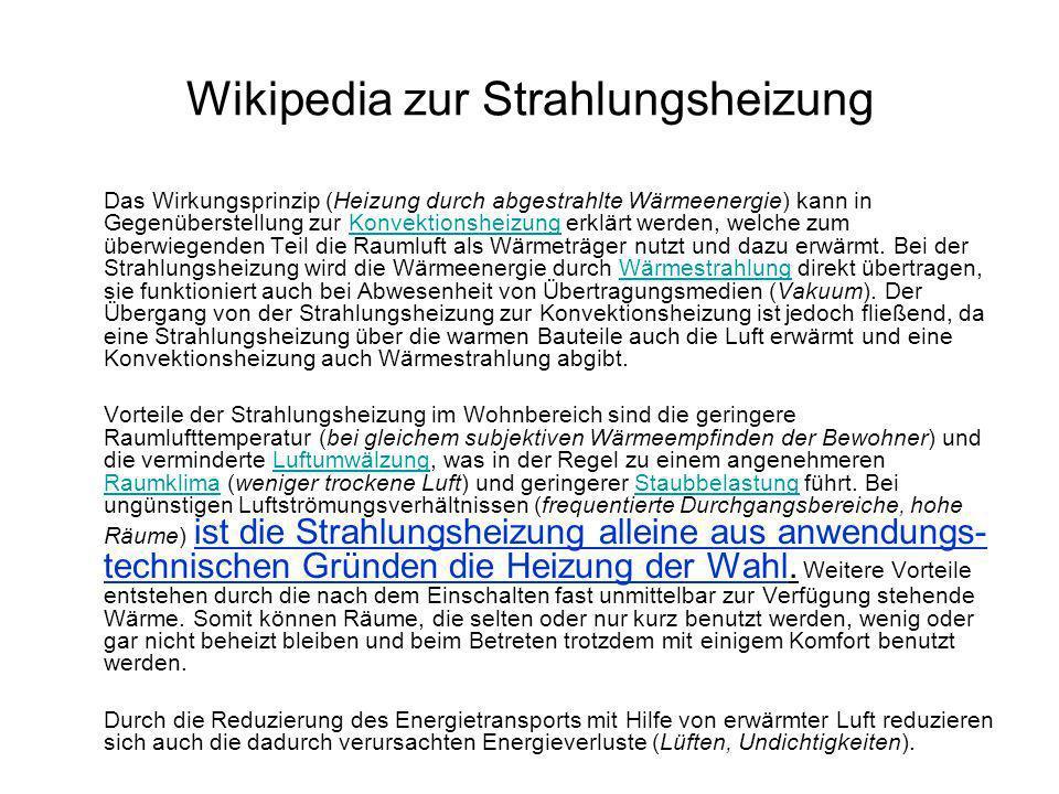 Wikipedia zur Strahlungsheizung