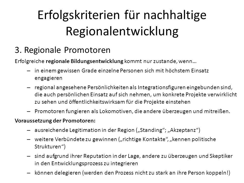 Erfolgskriterien für nachhaltige Regionalentwicklung
