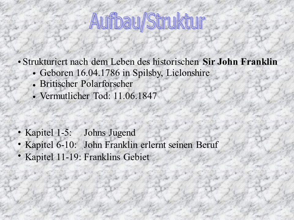Aufbau/Struktur Strukturiert nach dem Leben des historischen Sir John Franklin. Geboren 16.04.1786 in Spilsby, Liclonshire.