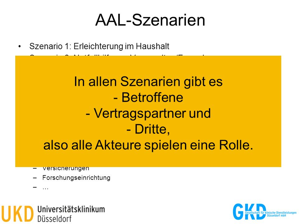 AAL-Szenarien Szenario 1: Erleichterung im Haushalt. Szenario 2: Notfallhilfe von Verwandten/Freunden.
