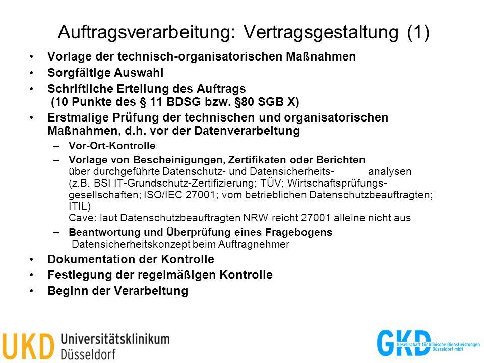 Auftragsverarbeitung: Vertragsgestaltung (1)