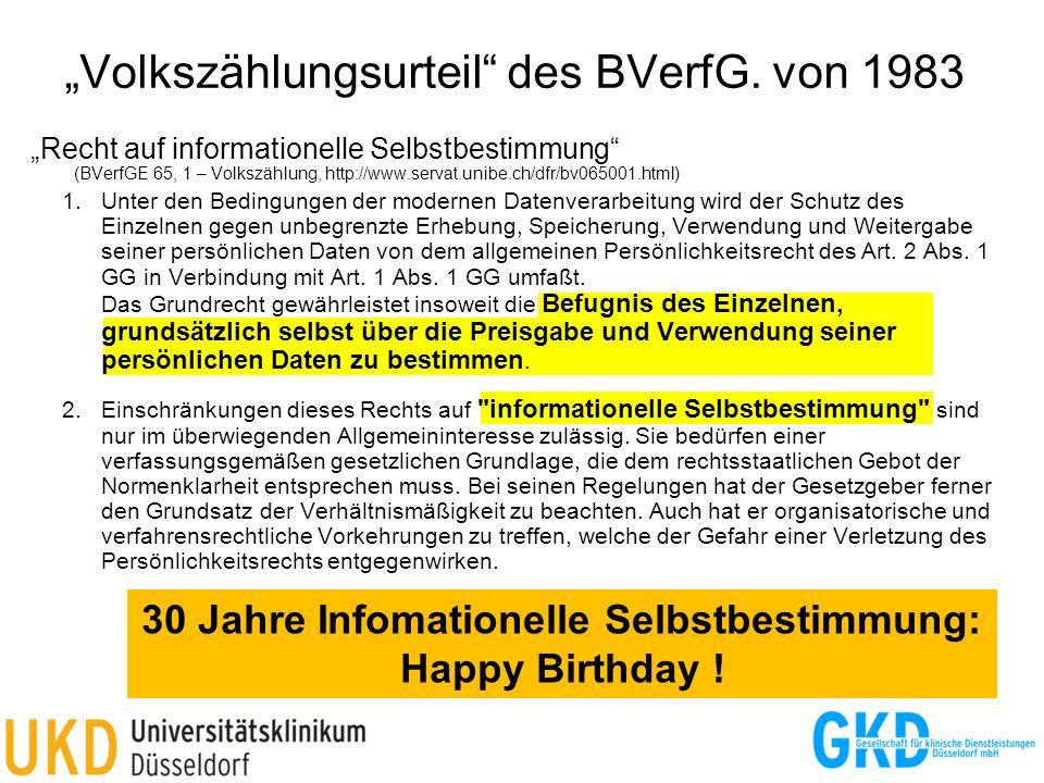 """""""Volkszählungsurteil des BVerfG. von 1983"""