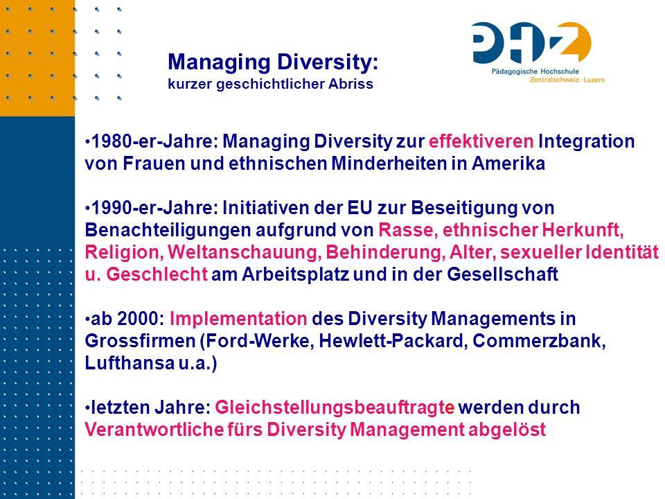 Managing Diversity: kurzer geschichtlicher Abriss.