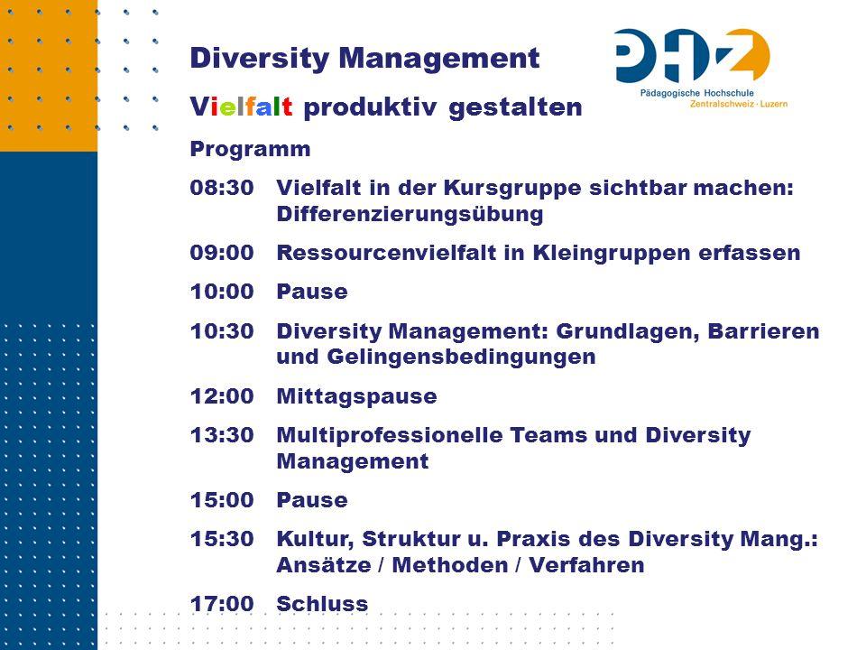 Diversity Management Vielfalt produktiv gestalten Programm