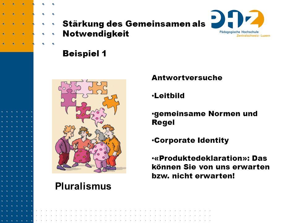 Pluralismus Stärkung des Gemeinsamen als Notwendigkeit Beispiel 1
