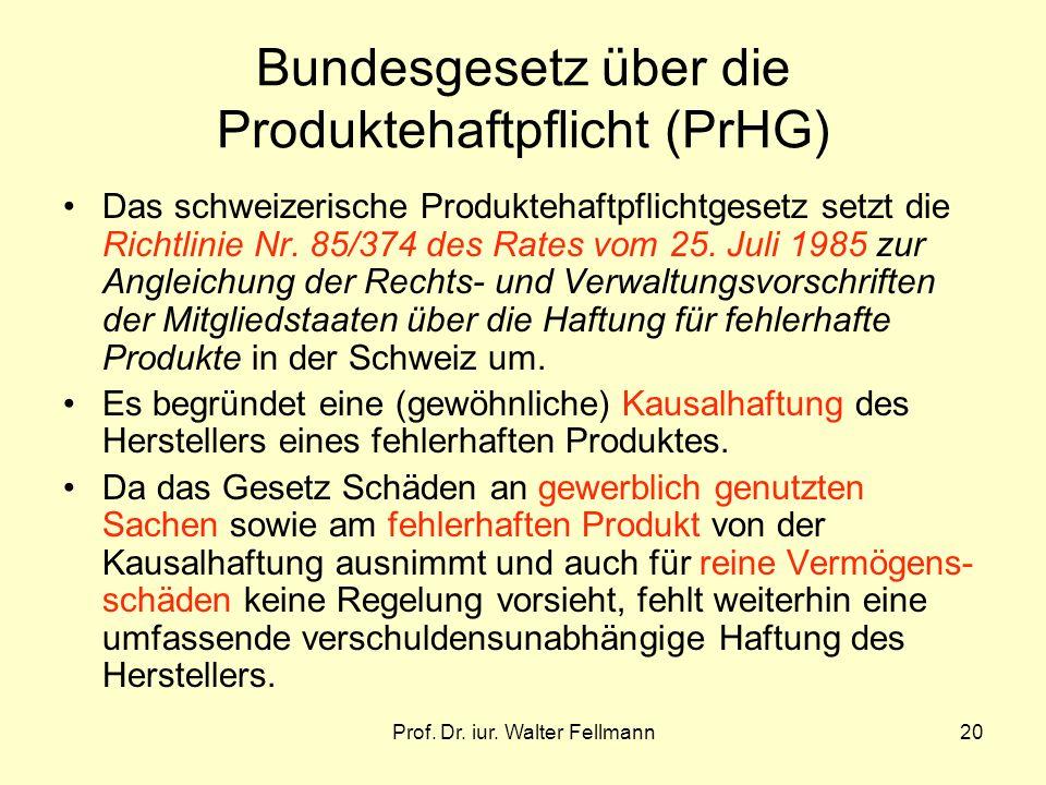 Bundesgesetz über die Produktehaftpflicht (PrHG)