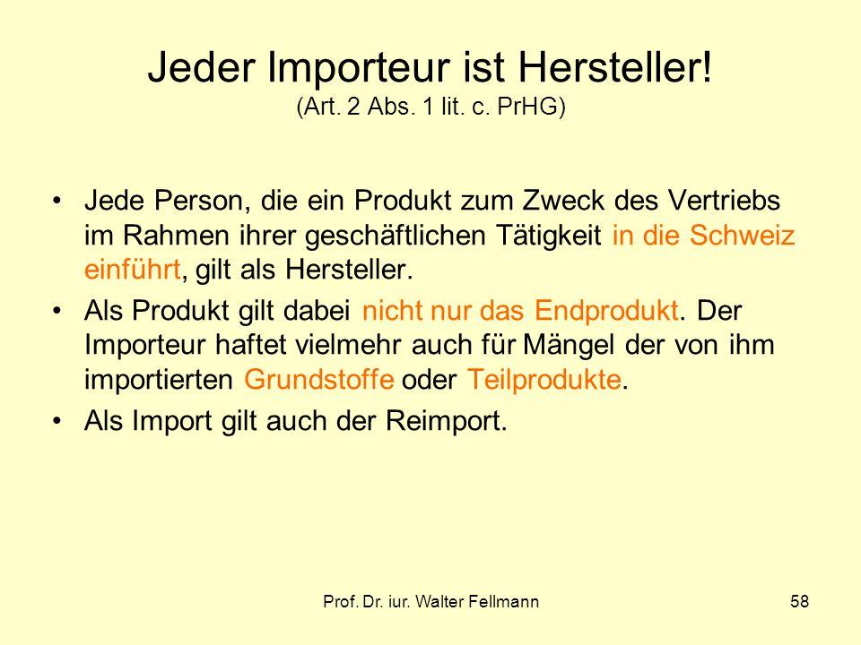 Jeder Importeur ist Hersteller! (Art. 2 Abs. 1 lit. c. PrHG)