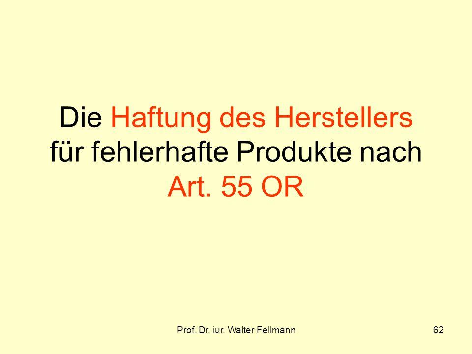 Die Haftung des Herstellers für fehlerhafte Produkte nach Art. 55 OR