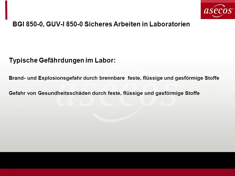 BGI 850-0, GUV-I 850-0 Sicheres Arbeiten in Laboratorien