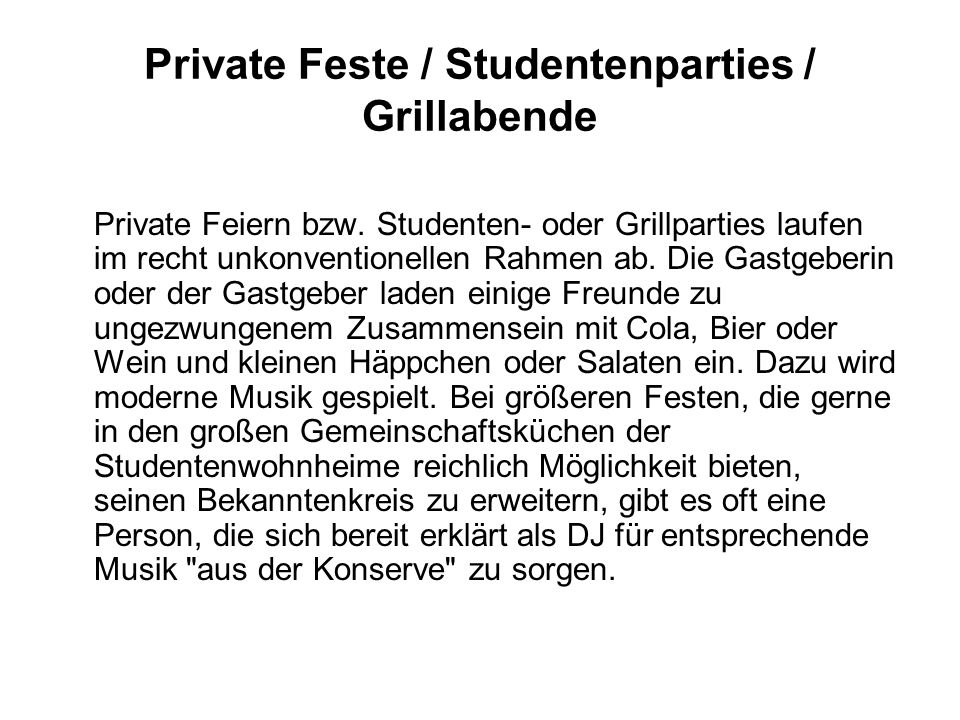 Private Feste / Studentenparties / Grillabende