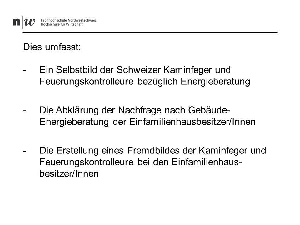 Dies umfasst: Ein Selbstbild der Schweizer Kaminfeger und Feuerungskontrolleure bezüglich Energieberatung.