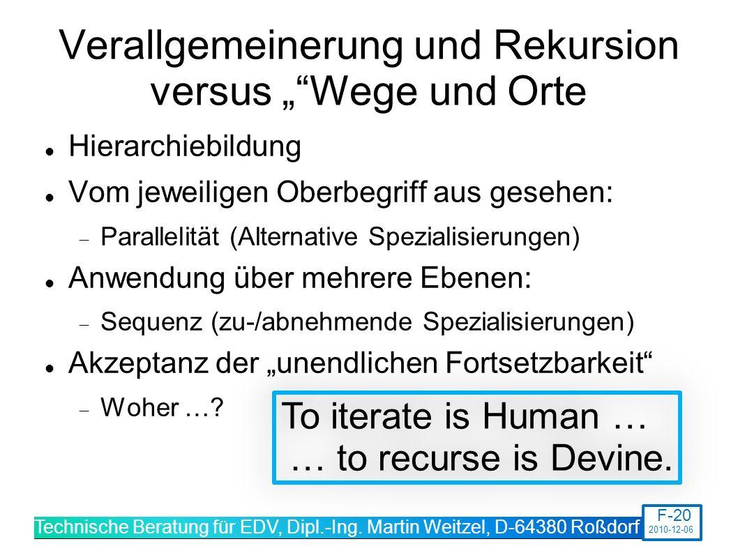"""Verallgemeinerung und Rekursion versus """" Wege und Orte"""